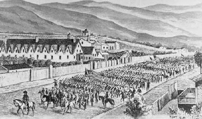 Johnston's force marches into Salt Lake City in 1858.