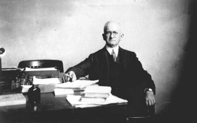 Joseph S. Ames at his NACA office.