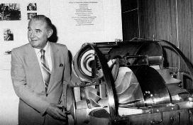 Dr. Hans-Joachim Pabst von Ohain beside his He S 3A jet engine which he invented, developed and successfully tested in 1936.