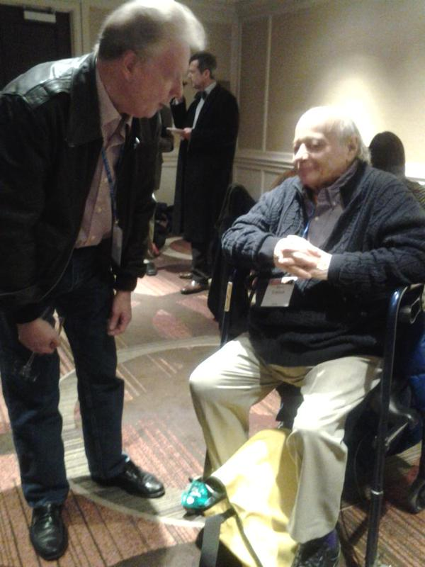 Talking with Jesse Lemisch at the AHA reception on January 2, 2015.