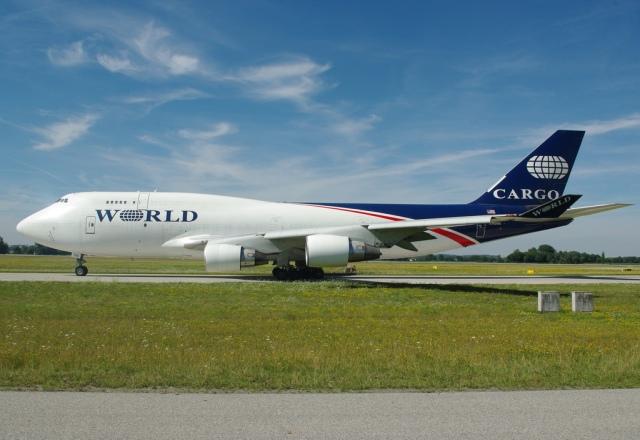 A World Airways Boeing 747-400BDSF at Munich Airport, Germany, 2009.