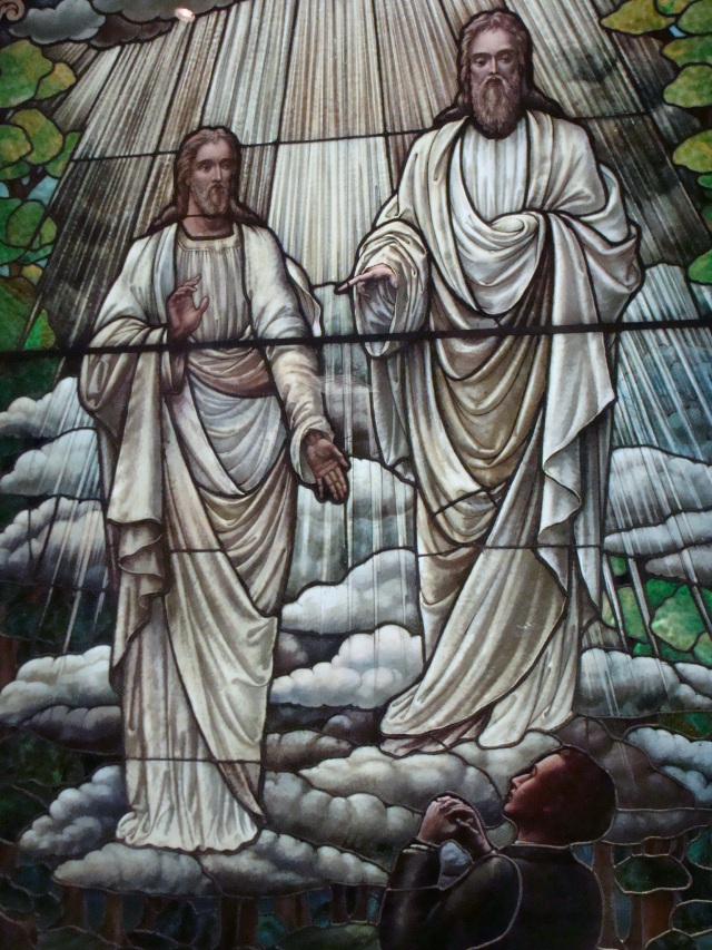 This stained glass window of Joseph Smith's First Vision was completed in 1913 by an unknown artist, and is presently displayed at the Museum of Church History and Art in Salt Lake City, Utah.