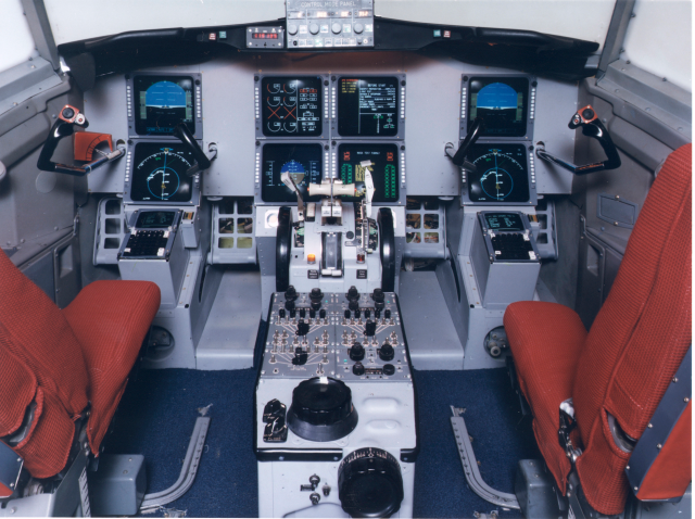 """The """"Glass Cockpit"""" in a Boeing 737."""