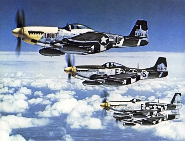 """The Bottisham Four,"" a famous photo showing four U.S. Army Air Force North American P-51 Mustang fighters from the 375th Fighter Squadron, 361st Fighter Group, from RAF Bottisham, Cambridgeshire (UK), in flight on July 26, 1944."