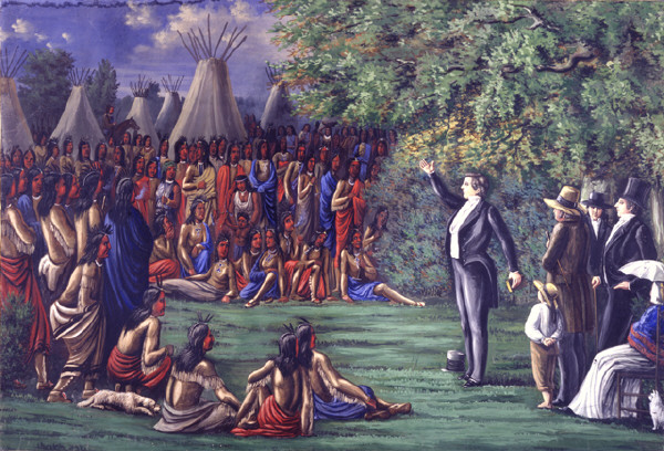 A painting by C.C.A. Christianson of Joseph Smith preaching to the Sac and Fox Indians who visited Nauvoo, Illinois, on August 12, 1841.