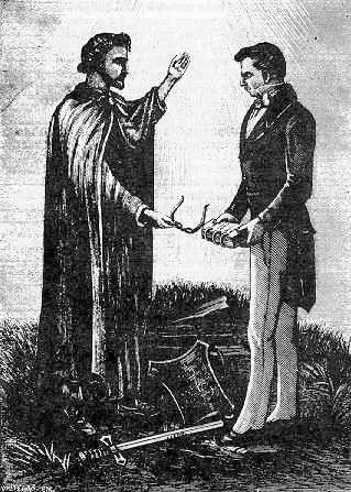 "Moroni and Joseph Smith. From ""Reminiscences of Joseph, the Prophet"" (Salt Lake City: Stevenson, 1893), p. 21."
