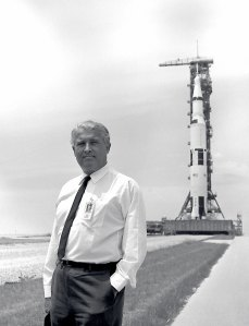Wernher von Braun led the developemnt of the Saturn V. Here he stands in front of Apollo 11 on the launch pad at Kennedy Space Center, Florida.