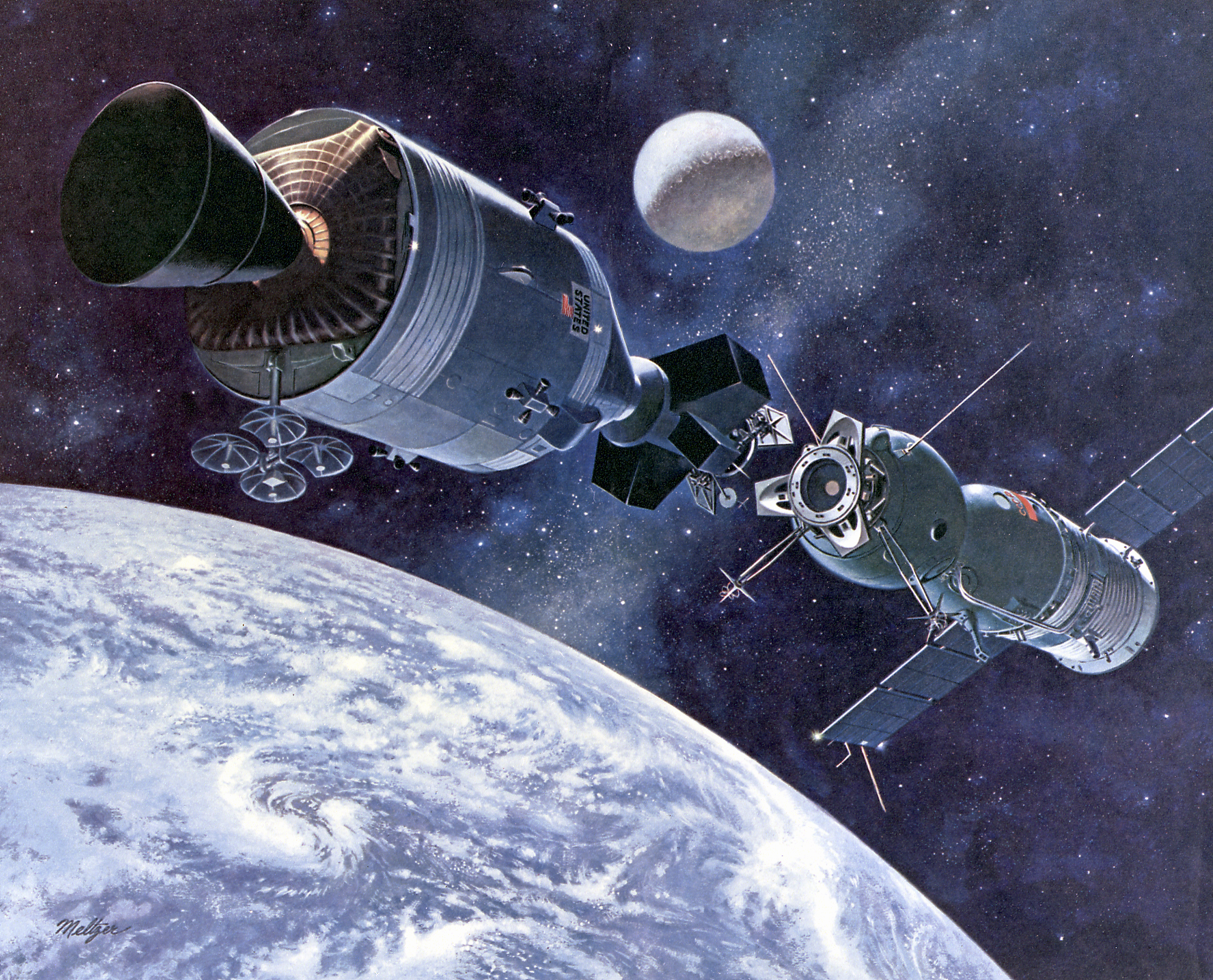 the historic docking of the apollo and soyuz capsule in space The soyuz launched into orbit july 14 from baikonur cosmodrome in kazakhstan at docking time, the soyuz tma-05m spacecraft and space station were sailing 400 kilometers over northeastern kazakhstan.