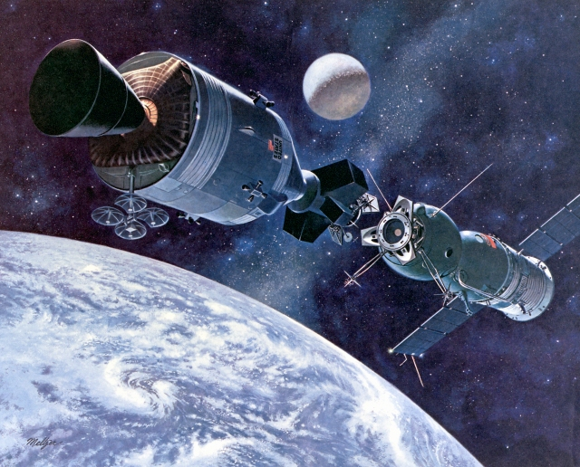 Artist's concept of Apollo-Soyuz, 1975.