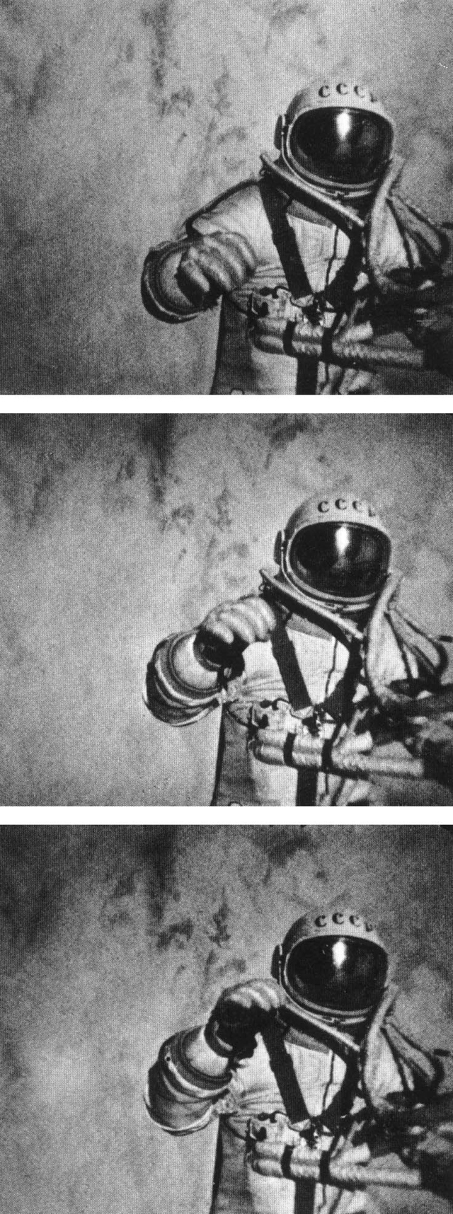 These three stills are from the external movie camera on the Soviet Voskhod 2, which recorded Aleksei Leonov's historic spacewalk on March 18, 1965. Leonov's EVA made him the first human to ever walk in space, giving the Soviet Union yet another space first.