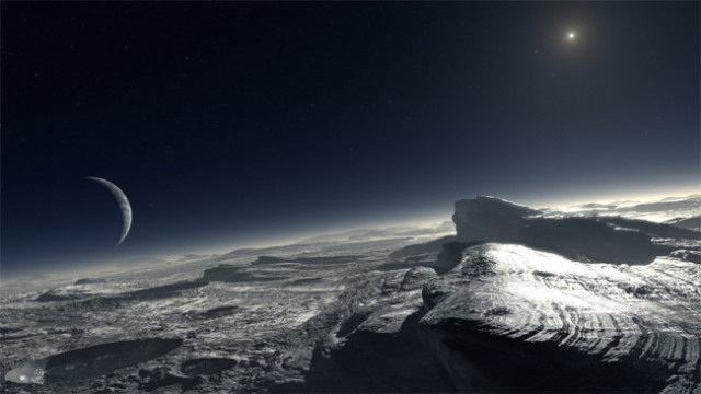 Artist's impression of how the surface of Pluto might look. The image shows patches of pure methane on the surface. Credit: ESO/L. Calçada