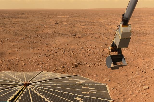 The Phoenix lander on Mars.