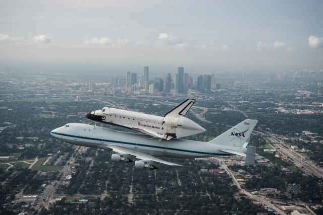 Space Shuttle Endeavour over Houston.