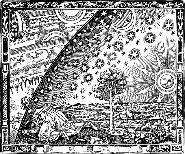 "This is a wood engraving by an unknown artist that first appeared in Camille Flammarion's ""L'atmosphère: météorologie populaire"" (1888). The image depicts a man crawling under the edge of the sky, showiing it as a solid hemisphere, to look at the mysterious Empyrean beyond. The caption underneath the engraving (not shown here) translates to ""A medieval missionary tells that he has found the point where heaven and Earth meet."""