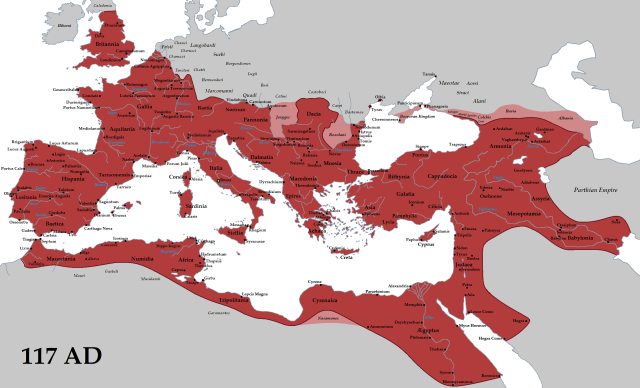 The Roman Empire at its height in 117 CE.