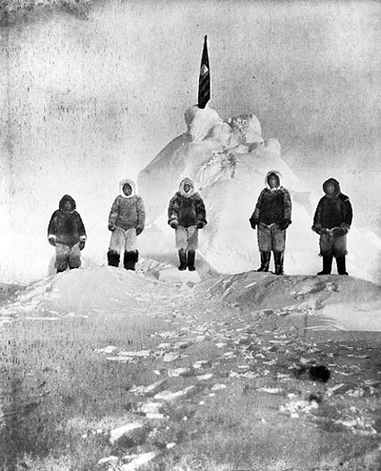 Admiral Robert E. Peary's crew, pictured here in the vicinity of the North Pole, included Inuits Ooqeah, Ootah, Egingwah, and Seeglo and fellow American Matthew Henson.