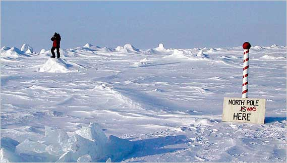 The wording of a sign erected by scientists near their North Pole camp in 2003 had to be changed because the ice was drifting 400 yards an hour. (Credit: Andrew C. Revkin/The New York Times)