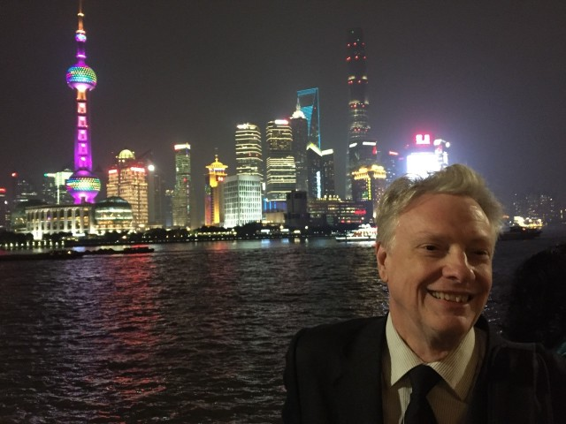 Roger Launius with the Pudong District in the background.