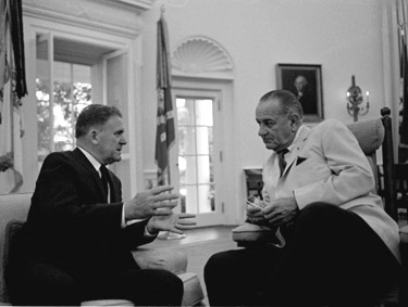 NASA Administrator James E. Webb meeting with President Lyndon B. Johnson.