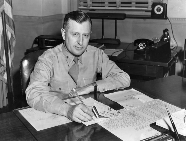 William H. Tunner, commander of the operation, at his desk.