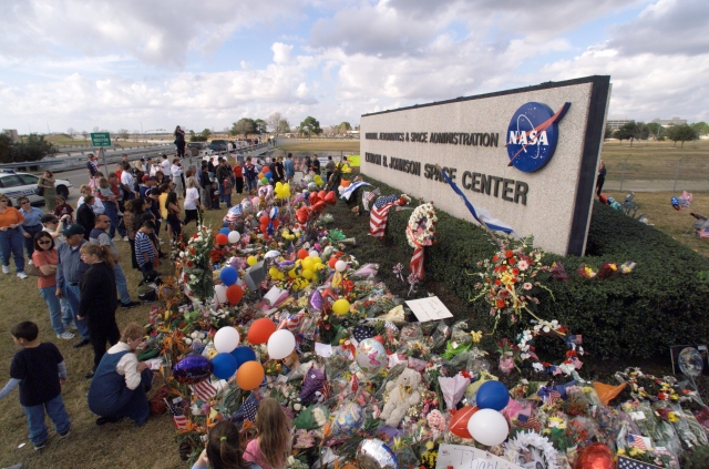 The public memorial for the Columbia accident at the gate of the Johnson Space Center, Texas.
