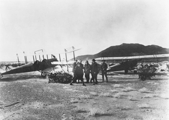 Pilots of the Ist Aero Squadron in front of their aircraft while pursuing Pancho Villa.