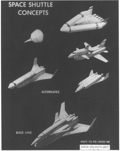 Possible configurations considered for the Space Shuttle as of 1970.