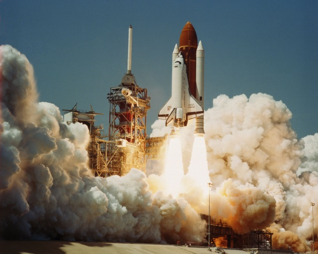 Space Transportation System Number 6, Orbiter Challenger, lifts off from Pad 39A carrying astronauts Paul J. Weitz, Koral J. Bobko, Donald H. Peterson and Dr. Story Musgrave in 1983.