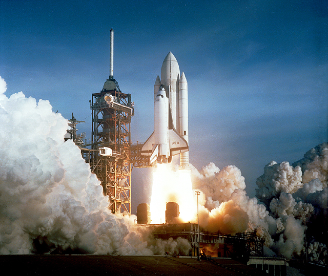 The Launch of the Space Shuttle Columbia in 1981.
