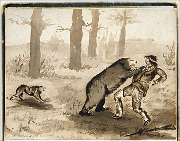 A 19th-century depiction of a grizzly bear attack. Such attacks were not common, but they happened often enough to make all Mountain Men wary.
