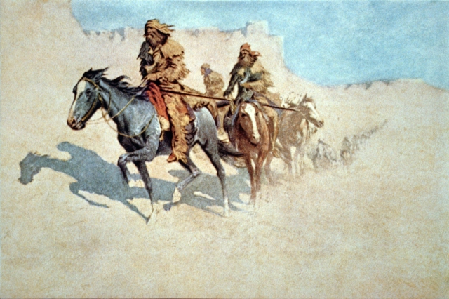 More details Jedediah Smith's party crossing the burning Mojave Desert during the 1826 trek to California by Frederic Remington.