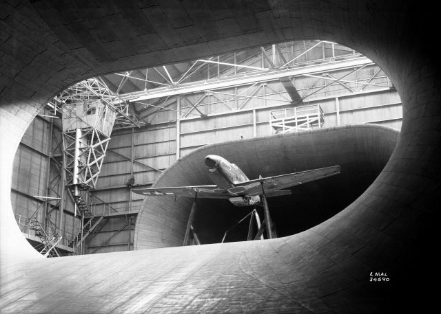 A P-51 Mustang in full scale tunnel at NACA Langley during World War II.