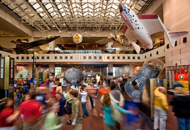 A busy day at the National Air and Space Museum.