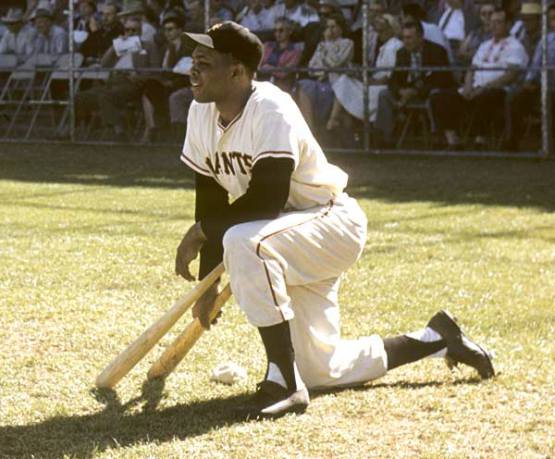 Willie Mays watches the pitcher from the on deck circle. circa 1957.