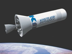 Pictured is a drawing of Kistler's rocketplane,