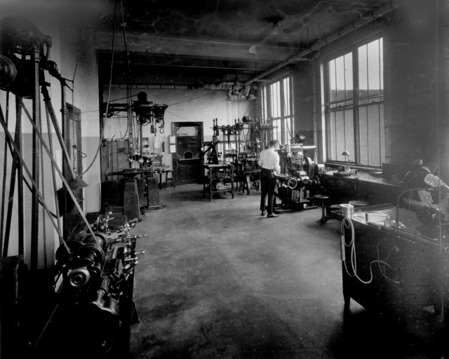 Howard Morris in the old Instrument Shop in the first floor of the old LMAL administration building taken in February 1922.