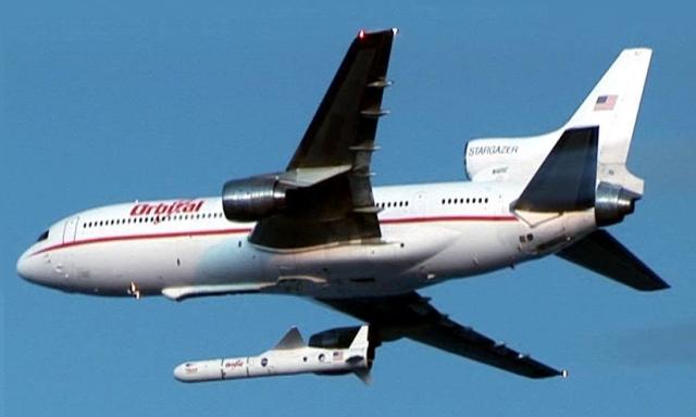 Orbital's Lockheed L-1011 Stargazer launches Pegasus carrying three satellites in 2006.