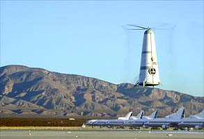 Rotary's Roton ATV (Atmospheric Test Vehicle) approach and landing demonstrator made a flight for 4,300 feet along a Mojave airport runway, October 12, 1999.