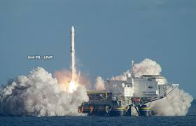 A Sea Launch LLC launch from a floating platform.