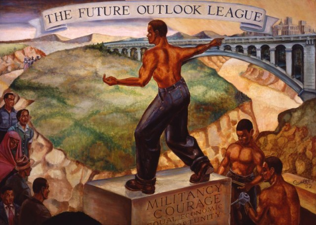 This mural, painted by Charles in 1952, was commissioned by the Future Outlook League and was displayed on the wall of a barbershop in the Cedar Central neighborhood of Cleveland, appeared in this exhibition. The mural depicts the movement of African Americans moving to cities and taking up industrial work.