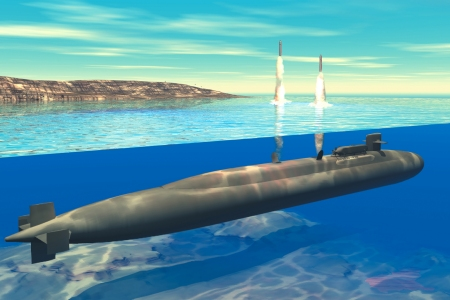 Artist's concept of an Ohio-class SSGN launching Tomahawk Land Attack Missiles.
