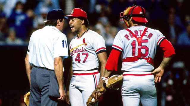 Joaquin Adujar argues with plate umpire Don Deckinger during his meltdown over a call. After being ejected from Game 7 of the 1985 World Series, Andujar trashed a clubhouse toilet. Ronald C. Modra/Getty Images
