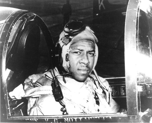 Brown in the cockpit of his F4U Corsair in Korea in late 1950.