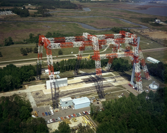 The Lunar Landing Research Facility in 1974 when it was being used for aircraft drop tests.