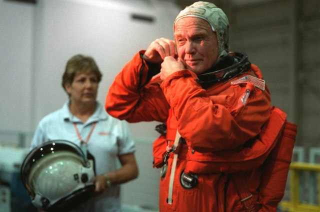 John Glenn suiting up prior to a training session at the Johnson Space Center.