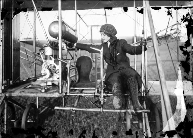 Katherine Stinson preparing biplane for take-off. Photograph by William Trefts; Jr, ca. 1913. Missouri History Museum Photograph and Print Collection. William Trefts Collection. Image Number: 29734
