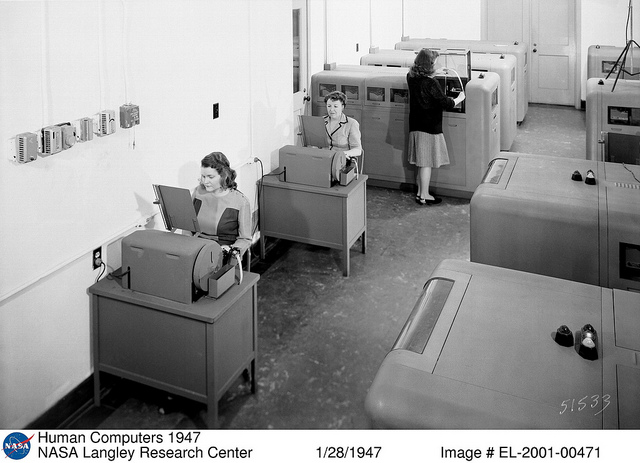 Women computers working at Langley in 1947.