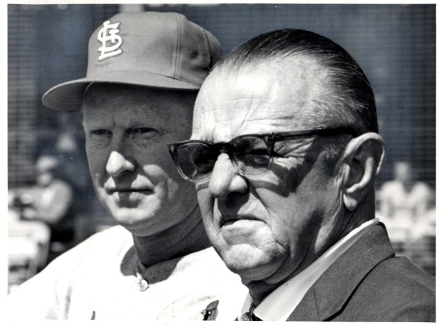 Gussie Busch with Red Schoendienst.