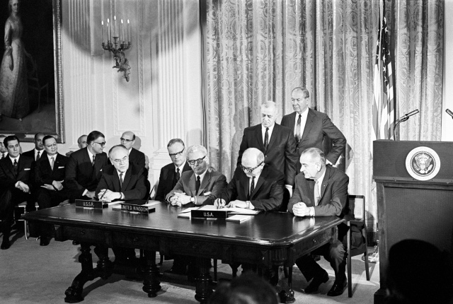 Signing the Outer Space Treaty on January 27, 1967.